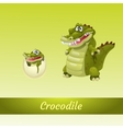 Crocodiles family mother and newborn from the egg vector image