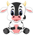 cute baby cow cartoon vector image vector image