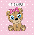 cute bear with a pink bow vector image vector image