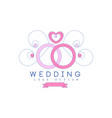 cute line logo design with wedding rings and vector image vector image