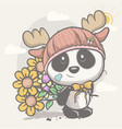 cute panda with flowers vector image vector image