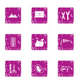 developing city icons set grunge style vector image vector image