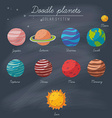 doodle planets collection on blackboard vector image