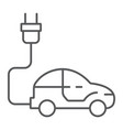 electric car thin line icon ecology car energy vector image vector image