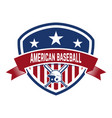 emblem with crossed baseball bat and baseball vector image vector image