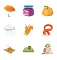 Falling leaves season icons set cartoon style vector image vector image