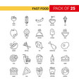 fast food black line icon - 25 business outline vector image