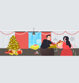 fat obese couple giving gift present boxes to each vector image vector image
