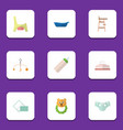 flat icon baby set of napkin mobile rattle and vector image