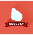 Flat icon with long shadow map of Uruguay vector image vector image