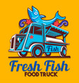 food truck fish shop delivery service logo vector image vector image