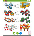 greater less or equal task with vehicles vector image vector image