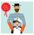 greeting card for fathers day with father and son vector image