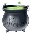happy halloween witch cauldron vector image