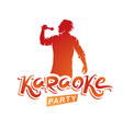 happy man with microphone sings karaoke famous vector image
