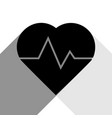 heartbeat sign black icon vector image vector image