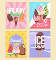 ice cream banners summer desserts caramel sundae vector image vector image