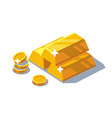 isometric golden bars and coins vector image vector image