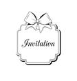 label ribbon bow wedding invitation template vector image