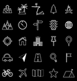 Location line icons on black background vector image vector image