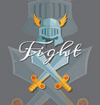 medieval crossed swords and helmet elements vector image vector image