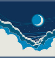 night sky background with half moon and clouds vector image