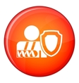 oken arm and safety shield icon flat style vector image vector image
