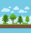 pixel game landscape with trees sky and vector image vector image