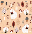 seamless childish autumn pattern with cute bears vector image vector image