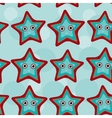 Seamless pattern with funny cute starfish animal vector image