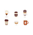 set coffee cups disposable plastic paper vector image