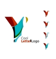 Set of abstract Y letter company logos Business vector image