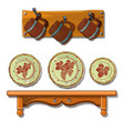 set of old plates and mugs on shelves vector image vector image