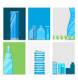 skyscrapers buildings cards tower office city vector image