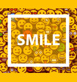 smiley faces design elements background vector image vector image