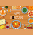 thanksgiving greeting card dinner table vector image vector image
