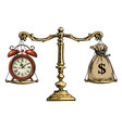 time is money concept sack dollars and pocket vector image vector image