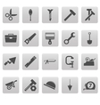 Tools icons on gray squares vector image vector image