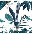 tropical vintage banana palm monstera plant vector image vector image