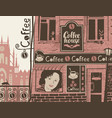 urban landscape with exterior of cafe with sign vector image