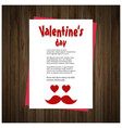 valentines day card with hearts wooden background vector image