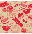 Vintage Love Foods pattern vector image vector image