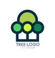 tree logo original design eco and bio badge vector image