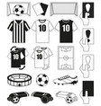 19 soccer elements black and white set vector image vector image
