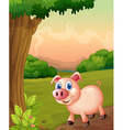 A smiling pig under the tree vector image vector image