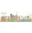 Abstract Lagos Skyline with Color Buildings vector image vector image