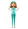 admire young doctor happy emotional nurse woman vector image