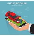Auto repairing concept Auto service online Car vector image vector image