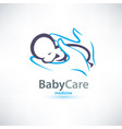 baby sleeping in hands care stylized symbol vector image vector image