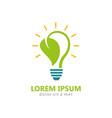 bio energy leaf light bulb logo vector image vector image